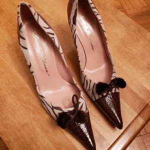Zebra print suede with brown leather pump